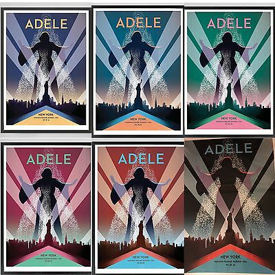 Set Of 6 Official Adele 2016 Tour Lithographs Poster Nyc Msg Limited  9/19-9/26