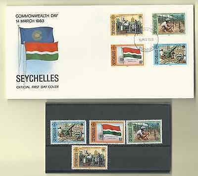 Seychelles 1983 Official Fdc & Mnh Set Sc 511-14 Commonwealth Day Free Shipping