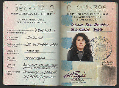 CHILE 2001 Complete Travel Document PASSPORT For Women Consular Revenues