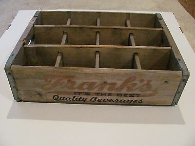 RARE Vintage Wooden Soda Crate Frank's Quality Beverages Phil. PA