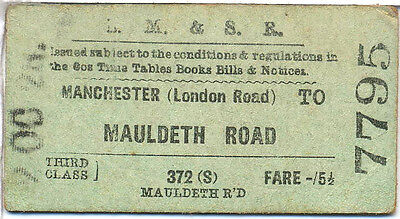 Railway ticket: LMS: Manchester London Road to Mauldreth Road 1928