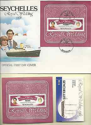 SEYCHELLES 1981 OFFICIAL FDC & MNH ROYAL WEDDING S/S SC 474a BOOKLET 469a & 472a