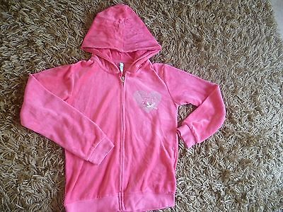 Free Style Pink Velour Hoodie Hooded Zip Up Sweater Age 12