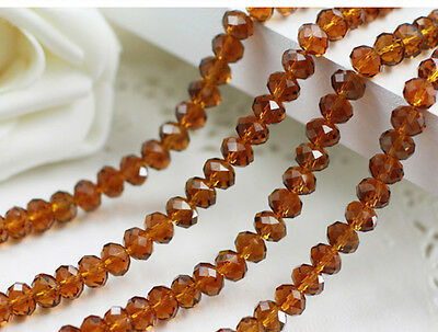 diy 100 (±3) PCS , 4 X 6 mm Amber Crystal Faceted Abacus Loose Beads