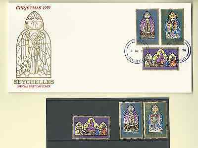 SEYCHELLES 1979 OFFICIAL 2 FDC's & MNH SET & S/S SC 442-45 CHRISTMAS FREE SHIP