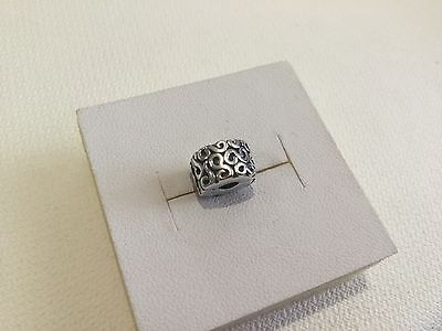 Genuine PANDORA Sterling Silver SCROLLS FIXED CLIP Bracelet Charm NEW & RETIRED