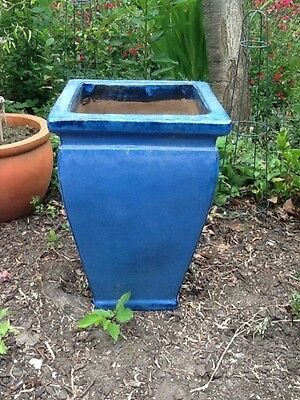 Large and tall blue glazed ceramic garden plant pot