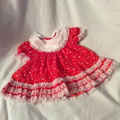 Vintage Cutest One Baby Girls Dress & Red And White Lace Lacy  Size 12 Mos