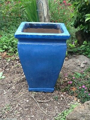 Tall blue glazed ceramic garden pot large