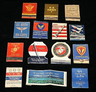 $10 NO RESERVE 14 Military Matchbooks U.S. Marines Army National Guard Air Corps