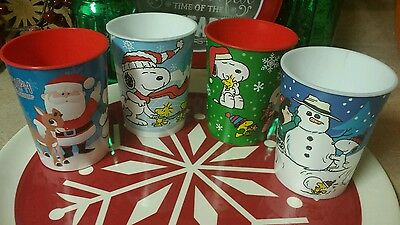 Hallmark Peanuts Snoopy, Charlie Brown, Rudolph Plastic Cups Lot of 4