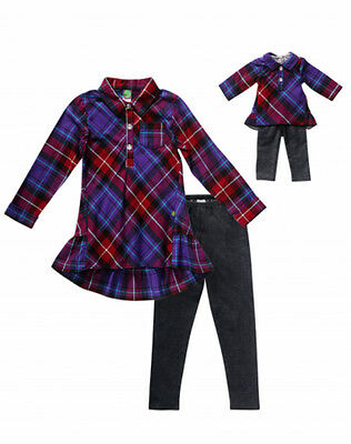 Dollie Me Girl 4-14 and Doll Matching Purple Plaid Tunic Outfit American Girl