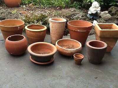 Bulk x 10 terracotta garden plant pots various shapes sizes