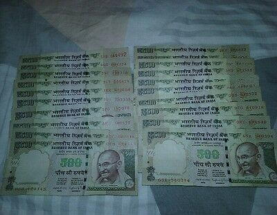 Indian rupee notes 20×500 rupees