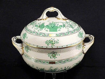Herend Indian Basket Green,2 Quarts Oval Soup Tureen,mint Condition