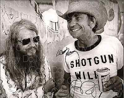Willie Nelson & Leon Russell signed 8X10 photo picture poster autograph RP