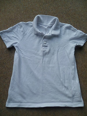 F&F PE Sports White Short Sleeve Collared T-shirt Casual top Age 7 - 8 128cm VGC