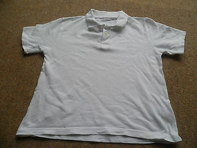 M&S PE Sports White Short Sleeve Collared T-shirt Casual top Age 8 128cm VGC