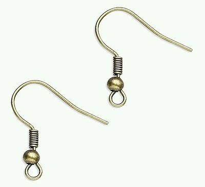 150 x Antique Bronze spring and ball ear wires earrings (75 pairs)