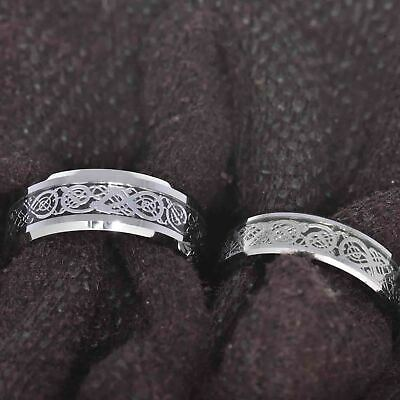 Silver Tungsten His & Hers Engagement Wedding Band Ring Sets Celtic Dragon Inlay