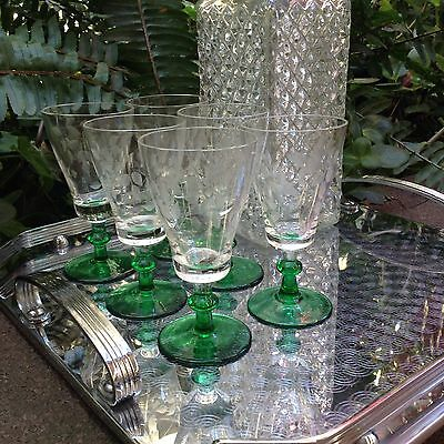 Absolutely Gorgeous Set Of 6 Vintage Bohemian Crystal Glasses Sherry Wine Spirit