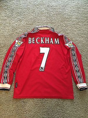 Manchester United Home Shirt 1999 Adults Large (L) Beckham 7 Long Sleeve L/s