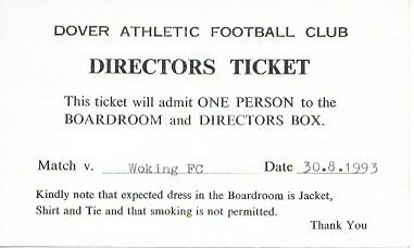 Dover Athletic V Woking - 93/94 -- Match Ticket.