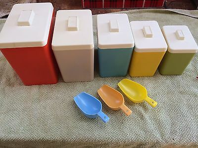 Vintage Retro multicoloured  kitchen canisters set - set of 5 and scoops