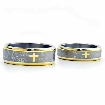 Two Tone Titanium His & Hers Engagement Wedding Ring Sets Cross & Bible Verse