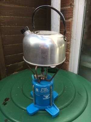 Vintage camping stove BLEUET S200 with kettle and instructions
