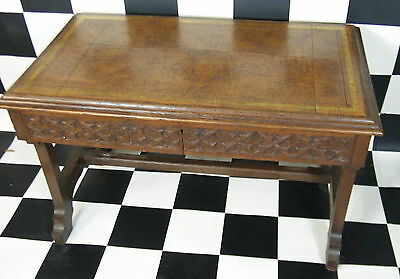 Antique Oak Desk With Leather Inlay