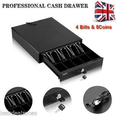 Heavy Duty Cash Till Drawer POS Cash Register Box 4 Bills 5 Coins Tray RJ11 12V