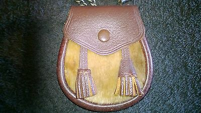 Scottish Leather Cow Hide Pouch/Sporran Money purse chained strap