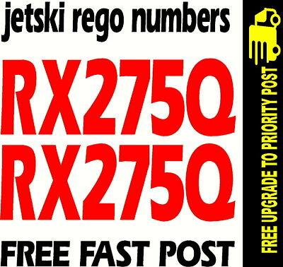 JETSKI 100mm Rego Numbers Marine Quality 2 SETS YOUR NUMBER decals