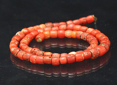 1 Strand Antique UNTREATED MEDITERRANEAN Natural Red Coral Loose Beads