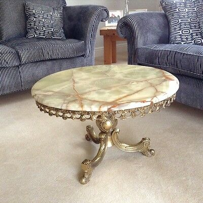 Vintage retro Onyx and brass round coffee table