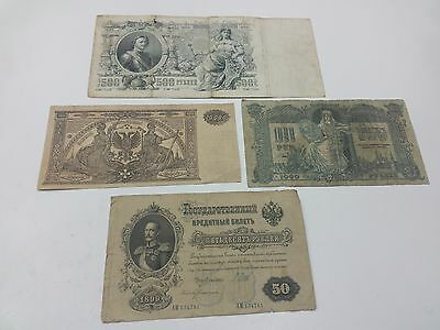 Russia Lot Of 4 Ruble   Banknote  50-500-1000-10000 Ruble 1899-1919