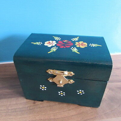 Hand Painted Green Wooden Trinket Box