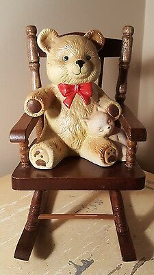 Vintage Wooden Rocking Chair With Ceramic Bear