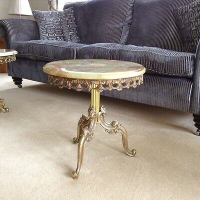 Onyx and brass side table