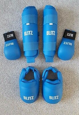 Childrens Blitz Karate Foot Guards, Shin Guards & Gloves