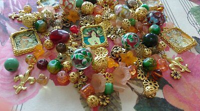 Mixed Bead Collection Lot * Beads Jewellery Making Glass Gold Charms Flower Caps