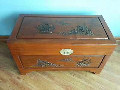 Chinese Wooden Chest - Decorative Beautiful Carvings - Quality Solid Wood