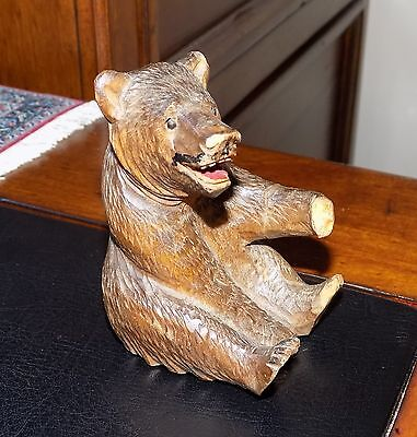 A Antique Old Black Forest Small Carved Treen Wooden Bear Statue Figurine - A/F