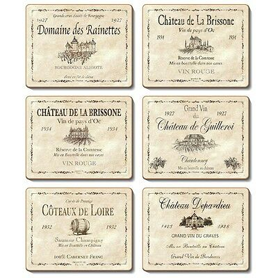 Wine Labels - Set of 6 Placemats and Coasters - Cinnamon