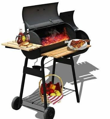 Wheeled Large Charcoal Barbecue Grill Cooking Garden Outdoor Portable BBQ Smoker