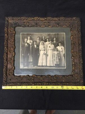 Antique Late 1800's Early 1900's Wedding Picture In Beautiful Wood Frame
