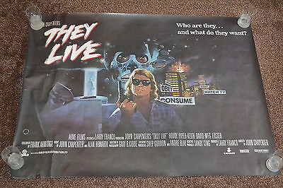 John Carpenters THEY LIVE original cinema Poster 1988 UK quad rolled
