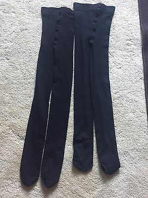 H&M girls Plain Black Tights Ages 8-10 Years