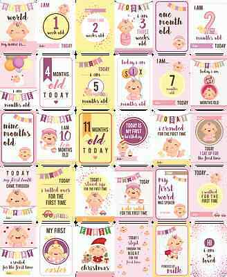 Baby Girl Moments and Milestones Cards - Set of 30.